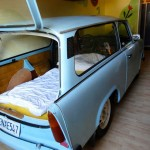 Why sleep in a bed when you can sleep in a genuine East German Trabant? Only in Dresden Neustadt!
