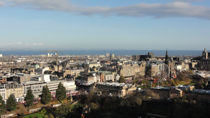 Edinburgh skyline to the sea