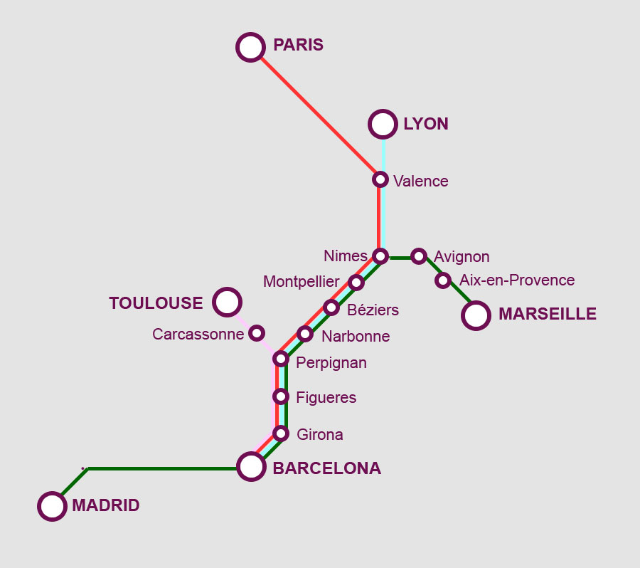 Trains In Spain Map.France Spain High Speed Train Network