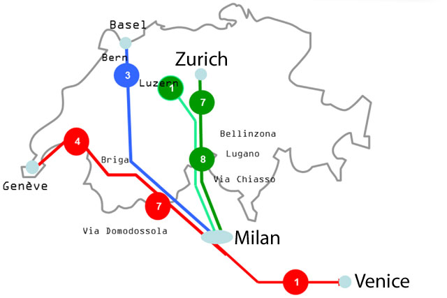 Italy-Switzerland-trains
