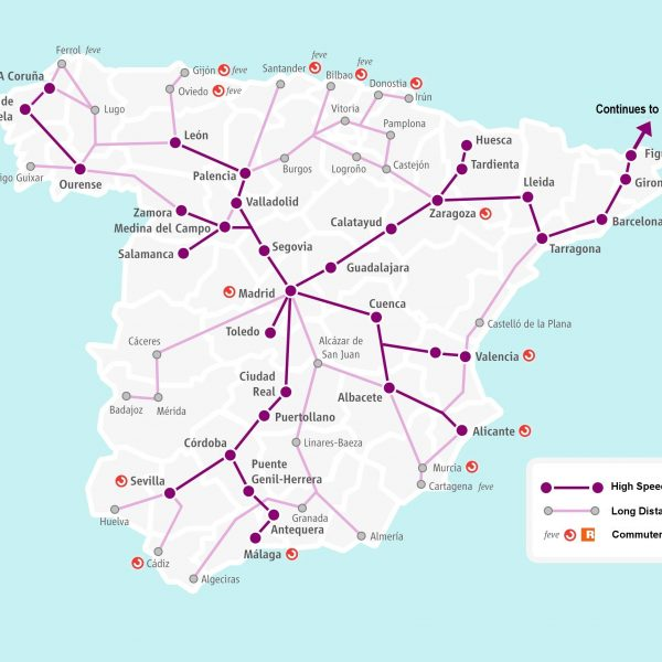 Renfe high speed and long distance routes map