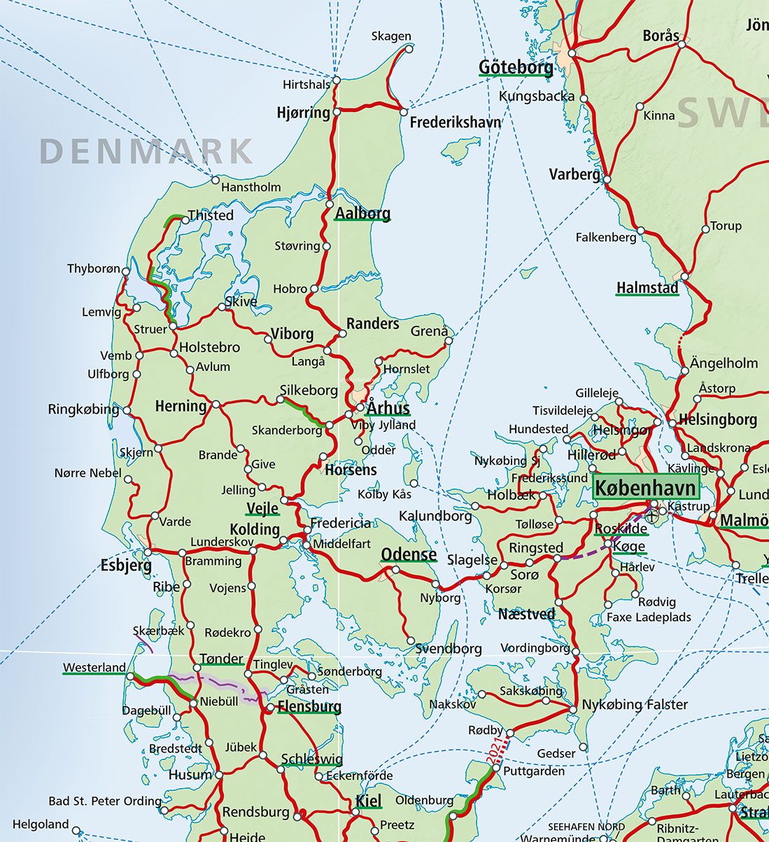 Denmark train map