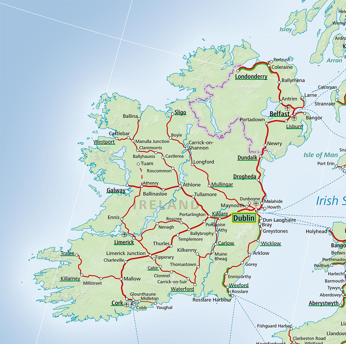Ireland train map