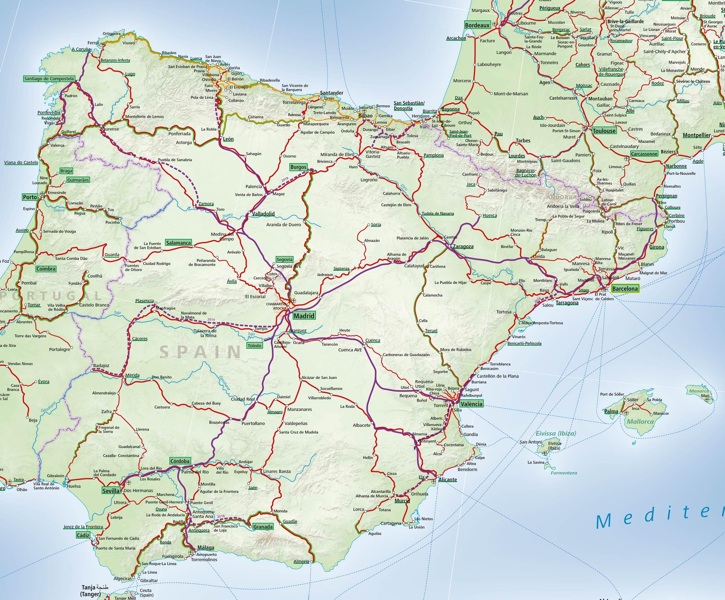 Map Of Spain Train Routes.Maps Acp Rail