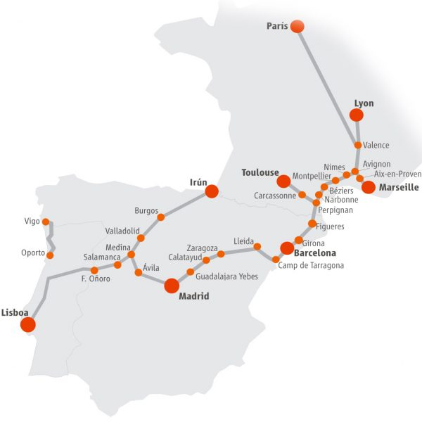 Renfe International Routes Map