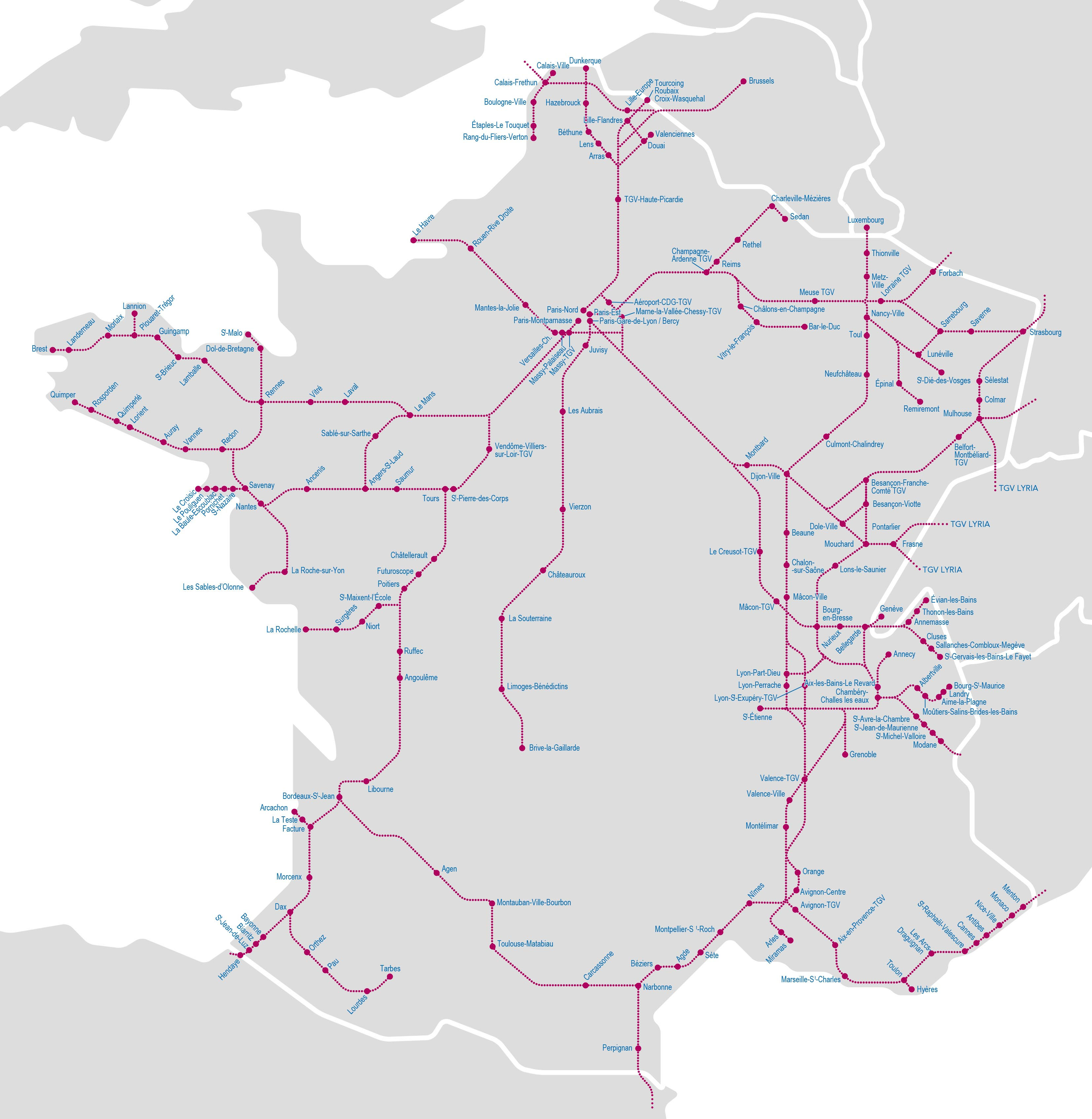 carte tgv france 2020 TGV Trains Map   ACP Rail